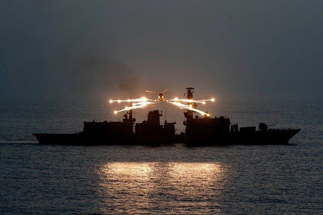 The Royal Navy released some stunning images showing the Lynx MK 8 helicopter from 815 Squadron, Royal Naval Air Station Yeovilton, litting up the night sky with her decoy flares as part of an exercise in the Indian Ocean.
