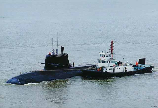 Chinese spotters have published pictures showing People's Liberation Army Navy (PLAN or Chinese Navy) newly modified Type 039B diesel electric submarine (SSK), sometimes reffered as Type 039C, continuing sea trials. So far, three so called Type 039C have been spotted.
