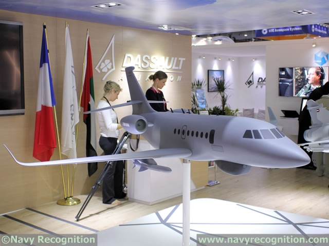 Falcon 2000 MRA scale model on Dassault Aviation stand at Dubai Air Show 2015