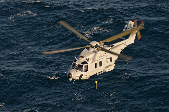 Today, Airbus Helicopters delivered the first Swedish NH90 in full anti-submarine warfare (ASW) configuration to the Swedish Defence Materiel Administration FMV (Försvarets Materielverk). The fully-qualified rotorcraft has an entirely customized mission system including underwater sonar, tactical radar and high cabin for improved interior space.