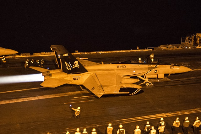 U.S. Navy strike aircraft from nuclear powered aircraft carrier USS Harry S. Truman (CVN 75) flew their first missions in support of Operation Inherent Resolve (OIR), the fight to destroy the ISIL terrorist organization, Dec. 29.