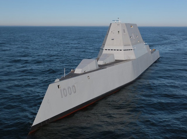 The future USS Zumwalt (DDG 1000) sailed out of General Dynamics-Bath Iron Works shipyard in Bath, Maine, yesteday for the very first trials (called builder trials). Zumwalt is the largest destroyer ever built for the U.S Navy. This initial builder sea trials will help check basic systems onboard as well as the seaworthiness of the inverse bow design.