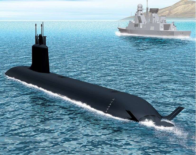 Artist impression: A Barracuda type (Suffren class) SSN sailing out for a patrol alongside an Horizon type air defense destroyer. Picture: French Navy