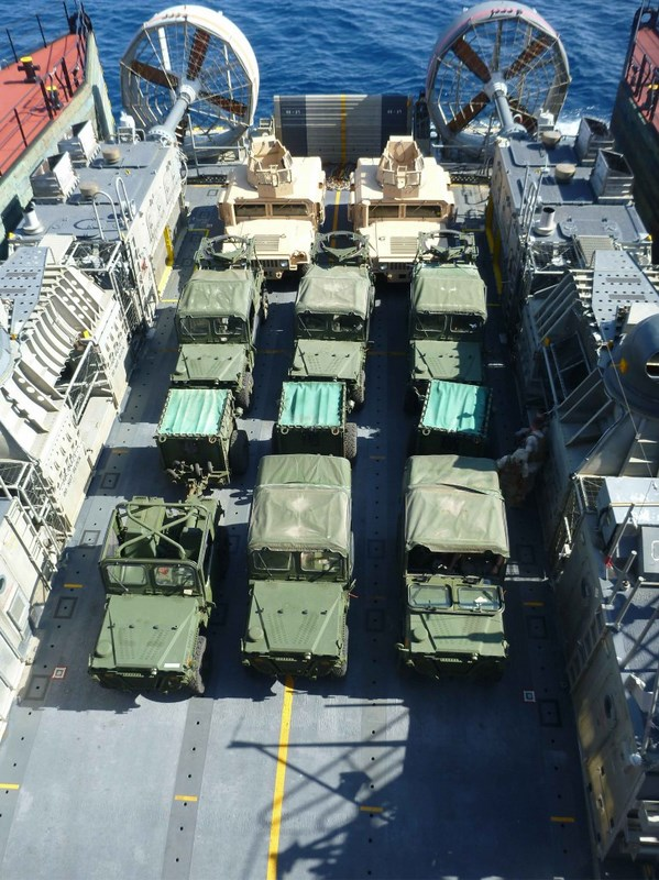 During retrograde operations, vehicles are transported onboard a Landing Craft Air Cushion (LCAC), to be transferred from Montford Point onto Bob Hope. The vehicles include, two M88 Armored Recovery Vehicles (ARV), three Internally Transportable Vehicle-Light Strike Vehicles (ITV-LSV), three Internally Transportable Vehicle-Prime Movers with Ammo trailer (ITV-PM/AT), and three Armored High Mobility Multipurpose Wheeled Vehicle (HMMWV) Expanded Capacity Vehicles (ECV).