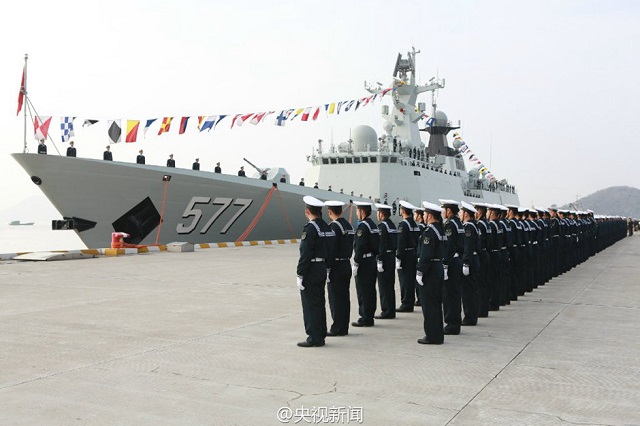 "A commissioning, naming and flag-presenting ceremony of the new ""Huanggang"" Frigate of the Chinese Navy (PLAN) was held was held at a naval port in Zhoushan city in east China's Zhejiang province on the morning of January 16, 2015, marking the ship has been officially commissioned to the Navy of the Chinese People's Liberation Army (PLAN). ""Huanggang"" is the seventeenth Type 054A Guided Missile Frigate (NATO designation: Jiangkai II class FFG)."