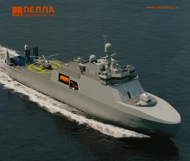 Also during IMDS 2015 maritime defense show, Pella Shipyard based in Leningrad unveiled an Arctic Patrol Ship. No order has been placed yet, but it is worth mentioning because the design of this 6,800 tons / 114 meters long patrol vessel with ice breaking capabilities features a large helipad and space at the stern for two Club-K Container Missile Systems.