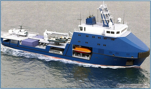 "According to Zelenodolsk Design Bureau, Project 03182 Small Arctic Sea Tanker is designed as a ""multi-purpose vessel with ice-breaking capacities for the transportation of liquid and dry cargo, people and helicopters (including unmanned aerial vehicles) as well as rescue operations in the Arctic zones."""