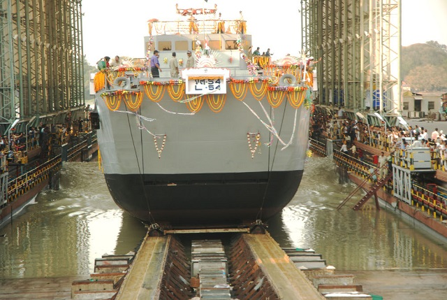 LCU L54 is the fourth vessel in the series of eight Landing Craft Utility Ships being built by GRSE for the Indian Navy. Picture: GRSE