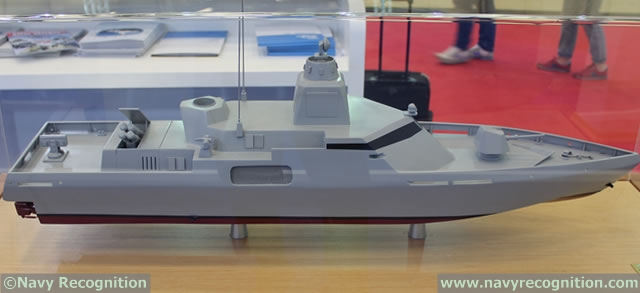 Based on the model, other equipment includes 2x 4 Harpoon anti-ship missile launchers (that can come in and out of the deck); 1x 76mm Oto Melara main gun, 2x 12.7mm remote weapon stations (likely Aselsan STAMP);1x Raytheon RAM surface-to-air missile launcher. Weapon and missile configuration can be adapted in accordance to specific requirements however. 2x Chaff decoy launchers may be fitted as well.