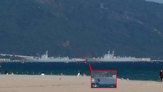 Recent chinese spotter pictures (November 2015) showing first ship of the Type 052C class Destroyer Lanzhou (170), left, and two Type 052D Destroyers including the third in the series, Hefei (174), right, at Yulin Naval Base in Yalong Bay on Hainan island.