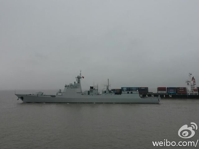 The fourth Type 052D Destroyer seen during sea trials.