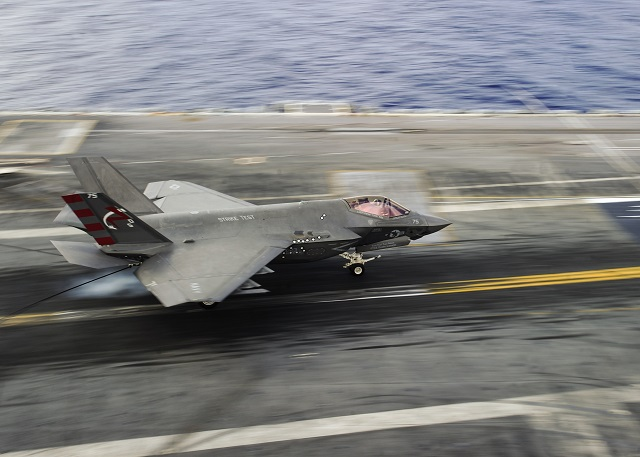 The aircraft carrier USS George Washington (CVN 73) welcomed F-35C Lightning II carrier variant Patuxent River Integrated Test Force team of test pilots, engineers and squadron Sailors and Marines aboard to complete developmental testing (DT-III), Aug. 14. The Navy's newest strike fighter features cutting edge technology to progress from the hazardous 'Dog Fighting' of the past to a more technological future of warfare, emphasizing stealth.