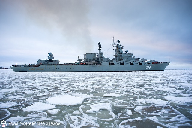 Slava class cruiser MARSHAL USTINOV Russia Navy post refit 1