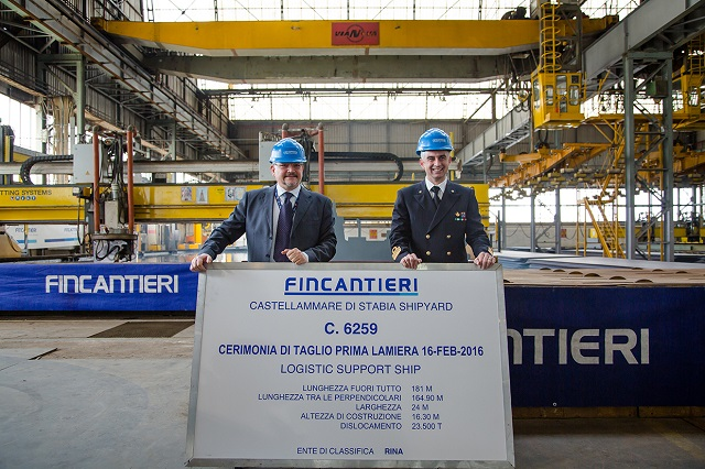 The steel cutting ceremony of the LSS logistic support unit's bow section was held today at Fincantieri's shipyard in Castellammare di Stabia. Construction works, therefore, officially started on the first unit, as provided in the renewal plan of the Italian Navy's fleet, which has been commissioned to Fincantieri.