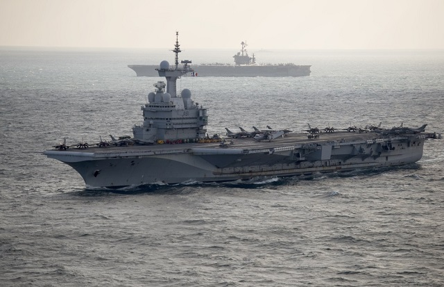 USS Harry S Truman and Charles de Gaulle aircraft carriers underway side by side as part of Dual Carrier Operations in the Arabian/Persian Gulf in February 2016. French Navy picture.