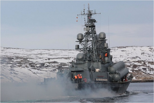The Kola Flotilla's Project 12341 small missile ship (NATO reporting name: Nanuchka III) Rassvet of the Russian Navy Northern Fleet's all-arms forces has conducted a live-firing exercise in the Barents Sea to hit aerial targets, the fleet's press office said on Tuesday.