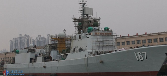 Also noticeable on the new pictures of Shenzhen's refit are four Type 345 (Front-Dome type) illuminators, hinting that the destroyer will highly likely be fitted with a number of VLS (vertical launch system) cells for HQ-16 surface to air missiles in place of the eight unit HQ-7 SAM launcher (Chinese variant of the French Crotale SAM).