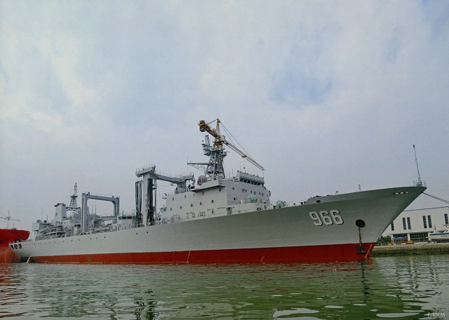 A commissioning, naming and flag-presenting ceremony of the new Gaoyouhu fleet replenishment oiler (hull number 966) of the People's Liberation Army Navy (PLAN or Chinese Navy) was held solemnly at the Zhoushan naval base in east China's Zhejiang province. The event means that the vessel is officially commissioned in the PLAN.