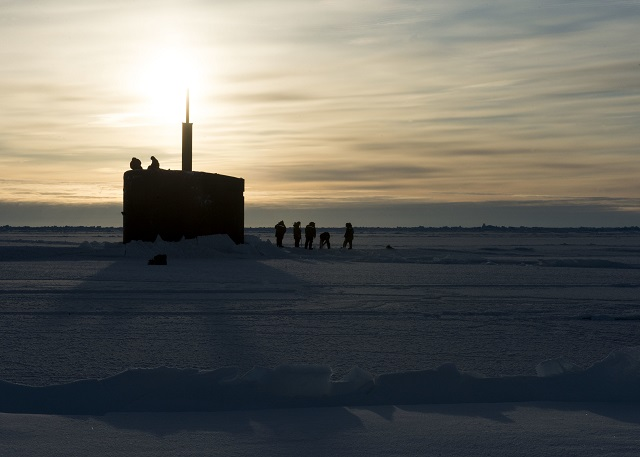 Two Los Angeles-class submarines arrived at U.S. Navy Ice Camp Sargo, a temporary station on top of a floating ice sheet in the Arctic, March 14, as part of Ice Exercise (ICEX) 2016. USS Hartford (SSN 768) from Groton, Connecticut, and USS Hampton (SSN 767) from San Diego will conduct multiple arctic transits, a North Pole surfacing, scientific data collection and other training evolutions during their time in the region.
