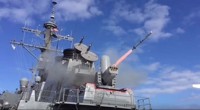 Last month , the US Navy successfully tested the SeaRAM weapon system from an Arleigh Burke class (DDG 51) destroyer for the first time. During DIMDEX 2016 maritime defense exhibition held in Qatar last week, Navy Recognition sat down with the Program Director at Raytheon to learn more about SeaRAM.