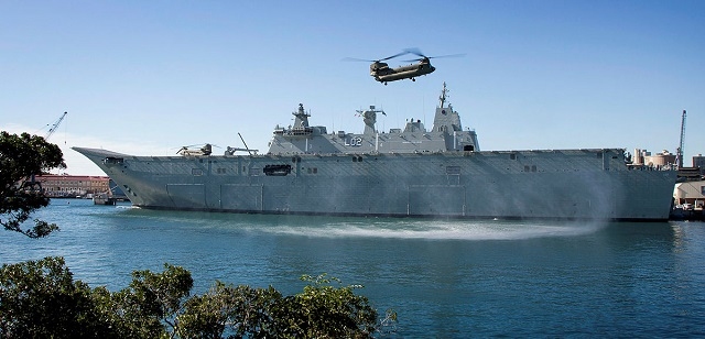 Amphibious ship, HMAS Canberra has conducted deck and handling trials with two Chinook helicopters alongside in Sydney recently. The aircraft, from the 5th Aviation Regiment, based in Townsville will go on to conduct first of class flight trials with Canberra's sister ship, HMAS Adelaide.