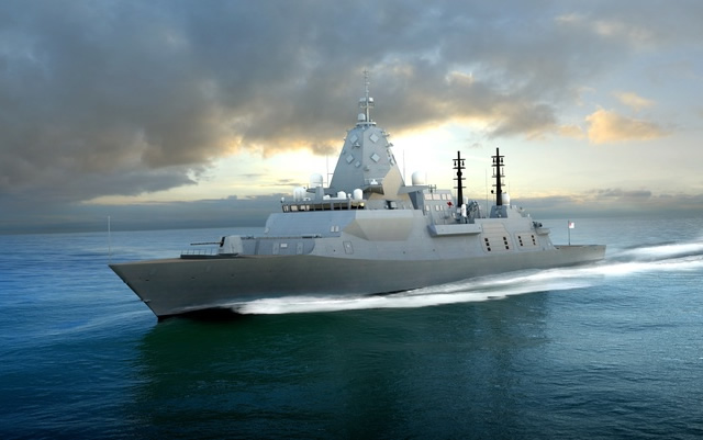 Computer Generated Image of the BAE System's Global Combat Ship proposal for the Royal Australian Navy SEA 5000 program. BAE Systems image.