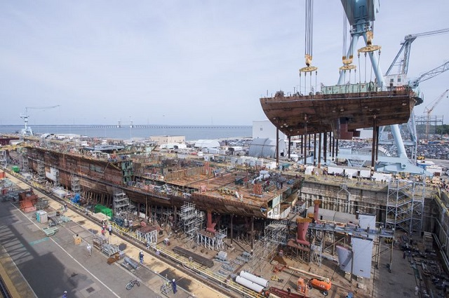 HII aircraft carrier john f kennedy 50 percent complete