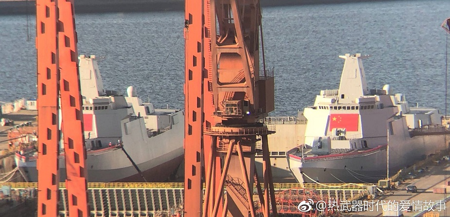 Two Type 055 Destroyers for PLAN Launched Together in China 2