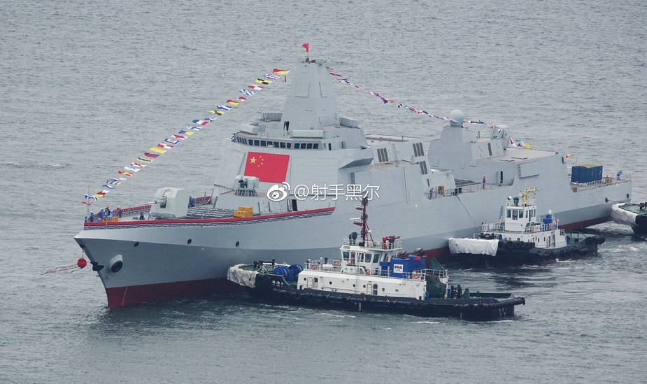 Two Type 055 Destroyers for PLAN Launched Together in China 3