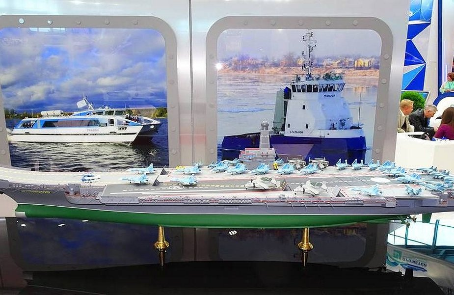 Russian design bureau displays future nuclear powered aircraft carrier project 925 001