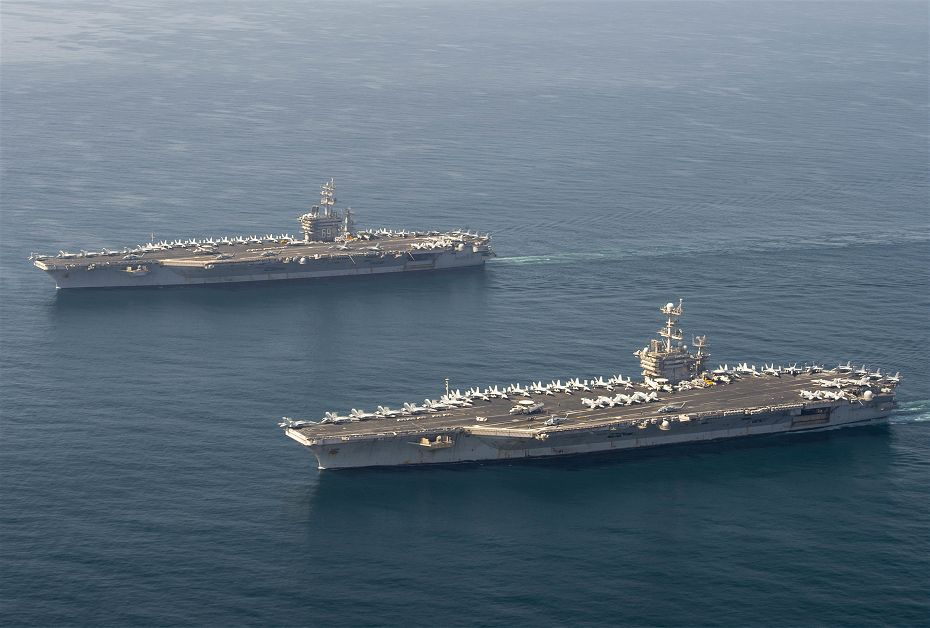US Navy aircraft carrier Eisenhower and Truman conduct joint air wing operations in Arabian Sea 925 001