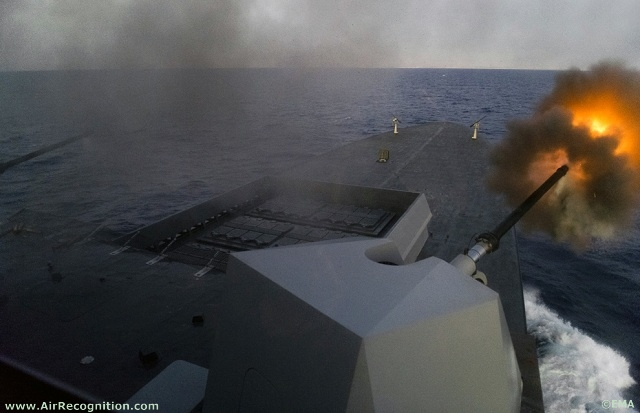 Chevalier Paul Destroyer firing at targets on the libyan coast with its two 76mm OTO Melara guns