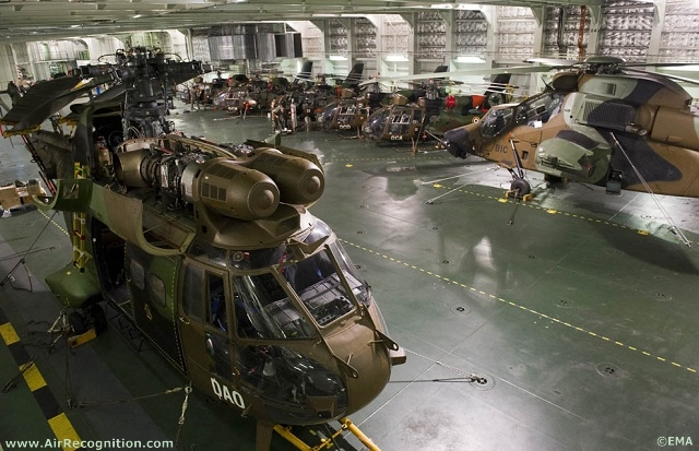 French Army Eurocopter Tigre, Puma and Gazelle helicopters inside French Navy's Mistral BPC deck