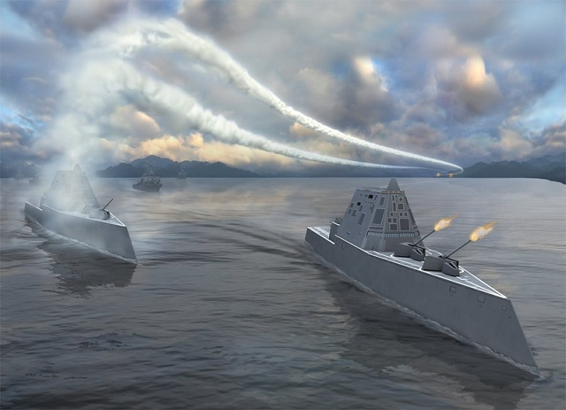 "The Zumwalt class destroyer (DDG 1000) is the US Navy next generation, multi-mission, naval destroyer, serving as the vanguard of an entire new generation of advanced multi-mission surface combat ships. The class is a scaled-back project that emerged after funding cuts to the larger DD-21 vessel program. The program was previously known as the ""DD(X)""."