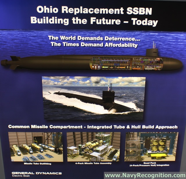 General Dynamics Electric Boat at the Navy League's 2015 Sea-Air-Space Exposition is showcasing for the first time a detailed Ohio Replacement scale model. The Ohio Replacement design maximizes commonality with the existing Ohio and Virginia classes to reduce risk and cost.
