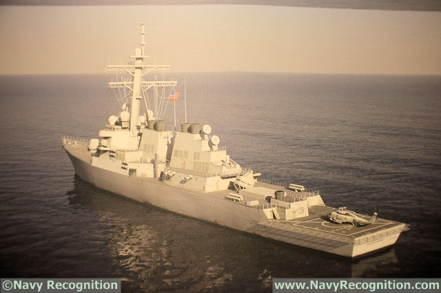 DDG 51 class Destroyer fitted with 8x NSM anti-ship missiles on Kongsberg booth during SNA 2016.