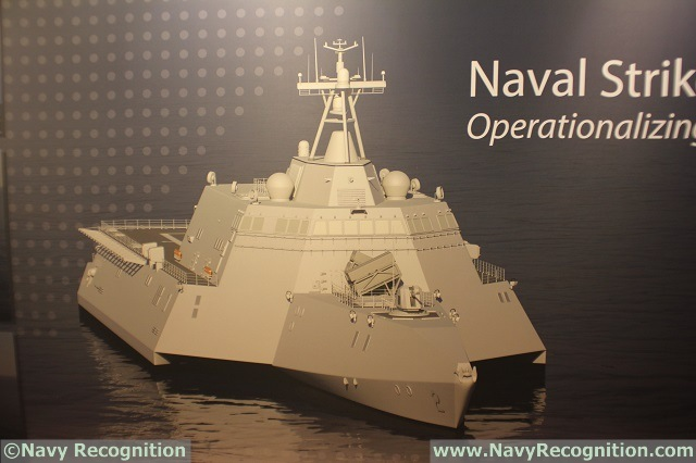 Independence class LCS image with 8x NSM as seen on Kongsberg's booth during SNA 2016.