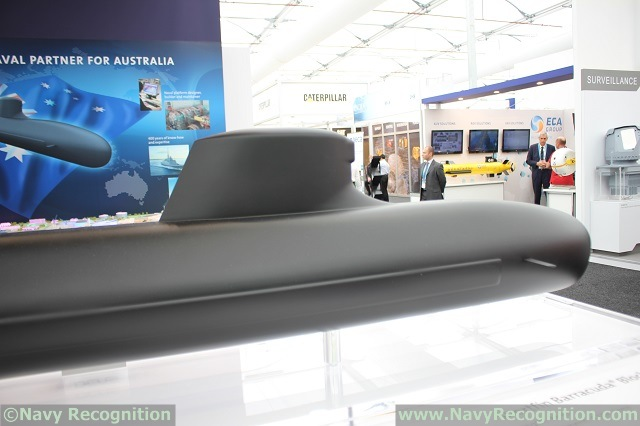 At PACIFIC 2015, the international maritime exposition held recently in Sydney, DCNS was showcasing for the first time a scale model of its proposal for the Australian SEA1000 submarine design and procurement program. Based on the French Navy Barracuda SSN currently in final stage of construction, the Shorfin Barracuda is 3 meters shorter (94 meters) and 200 tons lighter (4,500 tons).