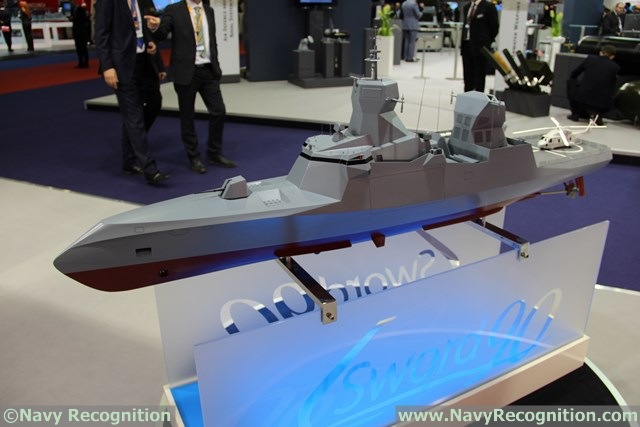 CMN worked in collaboration with naval architect Thierry VERHAAREN to design the C-Sword 90 stealth corvette. It may be fitted with various weapon systems, such as 8x MBDA Exocet Block 3 anti-ship missiles, 16x VL MICA and 2x SIMBAD-RC SAMs, Oto Melara 76mm main gun...