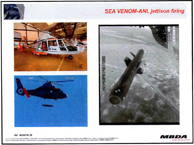 "Testing of Sea Venom/Anti-Navire Leger (ANL) anti-ship missile (a key UK-French program) is well on track, Navy Recognition learned from European missile company MBDA. The first jettison test of the missile from a DGA (French defense procurement agency) helicopter took place in December 2015 in Cazaux. We were told that the first live test firing should take place ""in a few months"" while full development of the missile is expected to be completed in 2018."