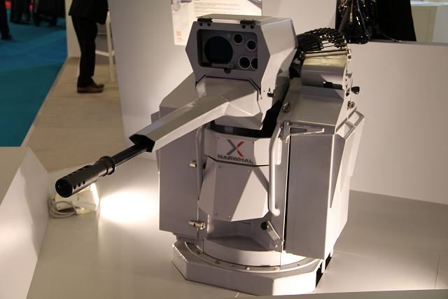 Nexter NARWHAL® remotely operated and stabilised 20mm gun turret at Euronaval 2016.