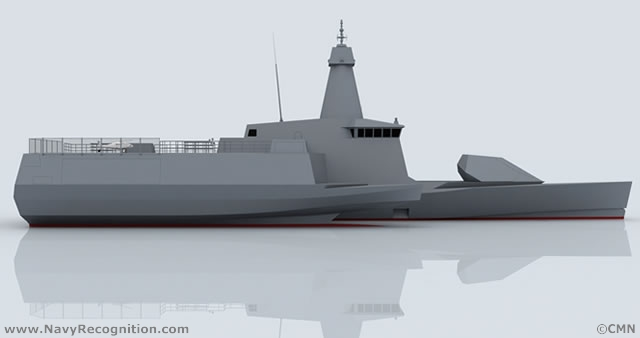 "The Combattante SWAO 53 is revolutionary stealth ship concept by CMN with a unique outrigger hull design, fitted with a large capable of accommodating both helicopters and UAVs. SWAO stands for ""Small waterplane area outrigger""."