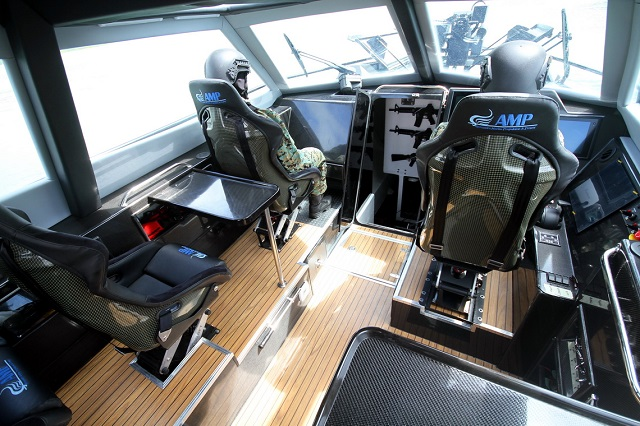 Barracuda features a fully enclosed, climate controlled cabin and can accommodate a crew of 5-6 (or up to 10 in 13m versions) in her main cabin, all on high tech shock mitigation seating dramatically reducing crew fatigue and the risk of impact injury. Additional occasional / survivor seating is provided in the forward cabin. A highly focused helm position allows the helmsman efficient control of the vessel even in demanding conditions, dedicated tactical positions with their own consoles are provided for weapons and navigators positions. Excellent all round visibility is provided by the cabins large glass area.