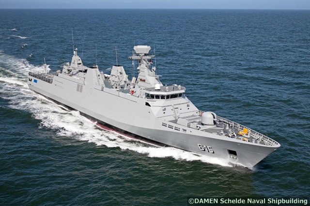 On 10 March 2012, after successful sea trials and finishing of outfitting details, Frigate, Sultan Moulay Ismail, the second of three frigates for the Royal Moroccan Navy built by Damen Schelde Naval Shipbuilding (DSNS) in Vlissingen, was transferred to the Royal Moroccan Navy. The third frigate, Allal Ben Abdellah, was transfered on 8 September 2012. The last two frigates are SIGMA 9813 Frigates (1,950 tonnes) while the first Frigate delivered by DAMEN is a SIGMA 10513 Frigate (2,185 tonnes).