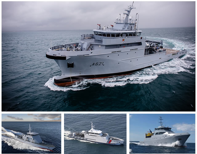 PIRIOU and its joint venture KERSHIP's (founded in 2013 by PIRIOU (55%) and DCNS (45%)) developed a wide range of efficient vessels up to 95 m long that are compliant with European quality standards and optimized to undertake various missions related to State Action at Sea: