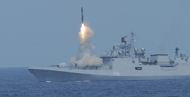 "The BRAHMOS supersonic cruise missile was successfully test fired from the Indian Navy's newest guided missile frigate INS Tarkash off the coast of Goa ?? 22nd of May 2013. The missile performed high-level ""C"" maneuvere at pre-determined flight path and successfully hit the target. The surface-to-surface missile, having a range of 290-km, was test launched from the Russian-built Project 1135.6 class warship at 1100 hrs on the 22nd of May 2013."