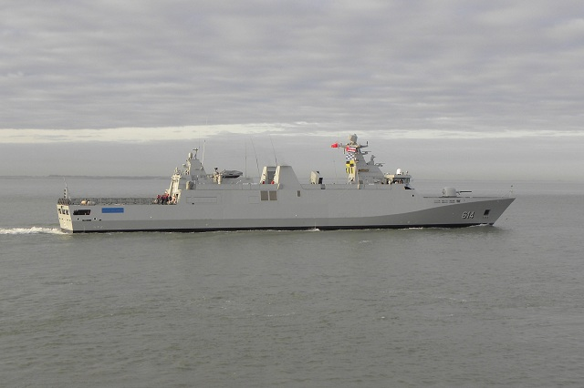 On 10 March 2012, after successful sea trials and finishing of outfitting details, SIGMA Class Frigate, Sultan Moulay Ismail, built by Damen Schelde Naval Shipbuilding (DSNS) in Vlissingen, was transferred to the Royal Moroccan Navy.