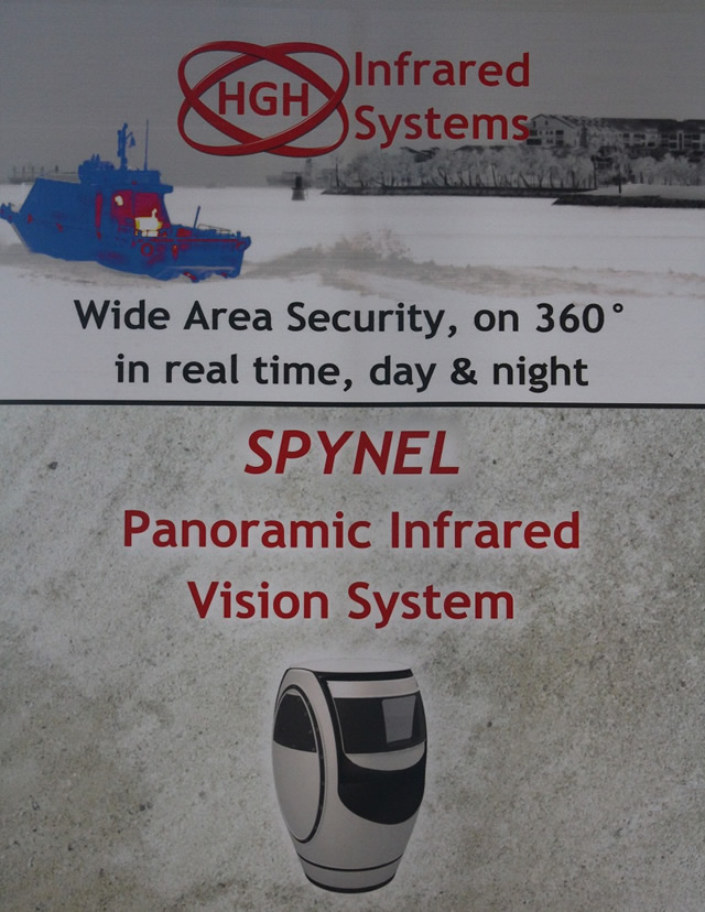 HGH's Infrared Systems', based in Cambridge MA, will be attending Sea Air Space 2014 for its annual exhibition in National Harbor, MD next week. HGH's award-winning Spynelthermal imaging system for security and surveillanceprovides automated intrusion detection and tracking over 360 degrees, detecting a small boat at up to 12 km and a ship up to 25 km (depending on model).
