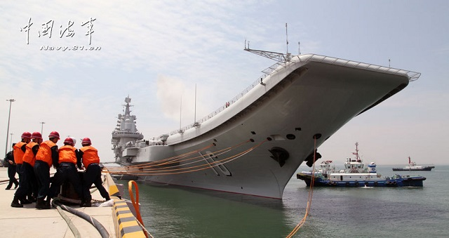 China's first aircraft carrier, the Liaoning, has left its home-port of Qingdao, in East China's Shandong province, to conduct scientific experiments and sea training, naval authorities said Tuesday.