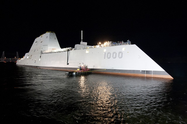 General Dynamics Bath Iron Works successfully launched the Navy's first Zumwalt-class destroyer Oct. 28 at their Bath, Maine shipyard. The future USS Zumwalt (DDG 1000) will be the lead ship of the Navy's newest destroyer class, designed for littoral operations and land attack.
